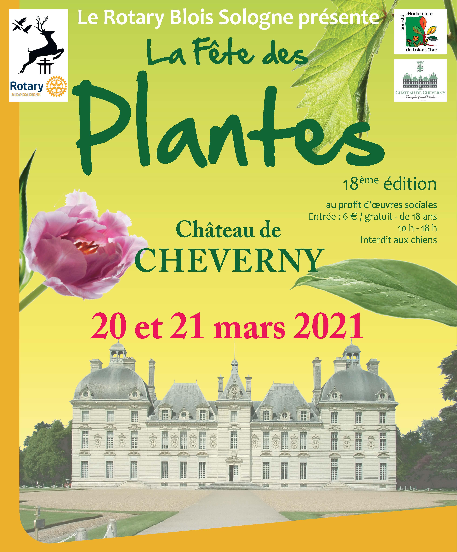 affiche fete des plantes 2021 chateau de cheverny rotary blois sologne